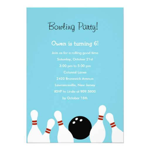 Bowling Fun Party Invitation (Turquoise) Custom Announcement