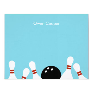 Bowling Fun Thank You Card (Turquoise) 11 Cm X 14 Cm Invitation Card