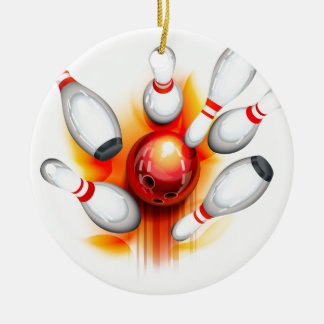 Bowling game (top view) ceramic ornament