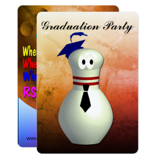 Bowling Graduation Party Card