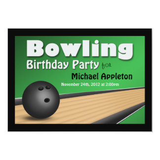 Bowling - Green Birthday Party Invitations
