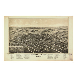 Bowling Green Ohio 1888 Antique Panoramic Map Poster