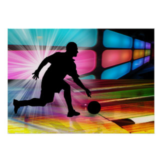 Bowling in a Neon Alley Poster