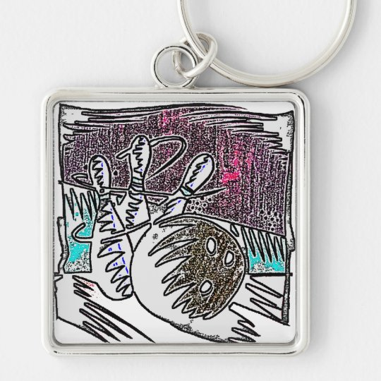 BOWLING IN CRAYON Silver-Colored SQUARE KEY RING