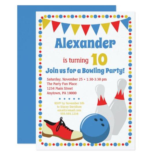 Bowling Invitation Boys Bowling Birthday Party