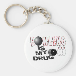 BOWLING IS MY DRUG! BASIC ROUND BUTTON KEY RING