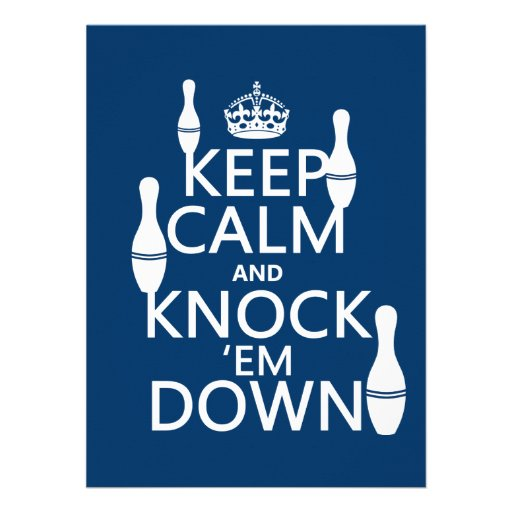 Bowling Keep Calm and Knock 'em Down - all colors Personalized Invitation