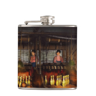 Bowling - Life in the gutter 1910 Hip Flask