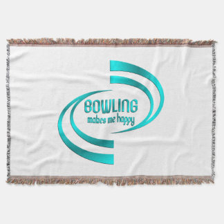 Bowling Makes Me Happy Throw Blanket