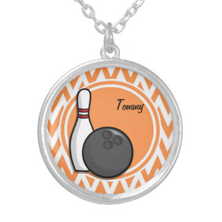 Bowling Orange and White Chevron Custom Jewelry