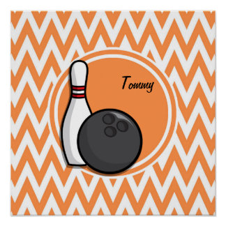 Bowling Orange and White Chevron Print