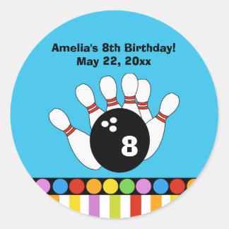 Bowling Party Birthday Custom Favor Sticker