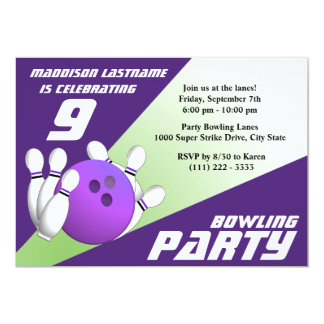 Bowling Party Birthday Purple and Green Card