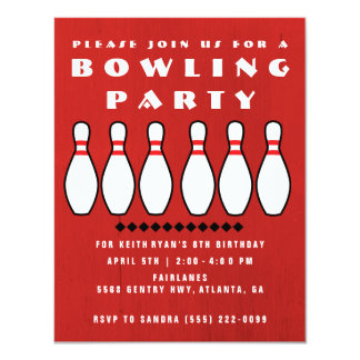 Bowling Party Boys 8th Birthday Party 11 Cm X 14 Cm Invitation Card
