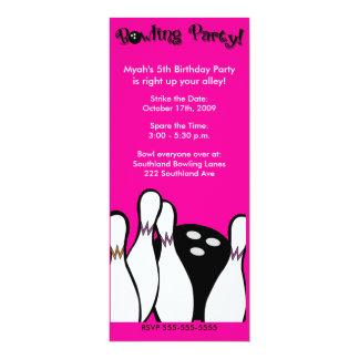 BOWLING PARTY COSMIC ANY AGE BIRTHDAY 4X9 10 CM X 24 CM INVITATION CARD
