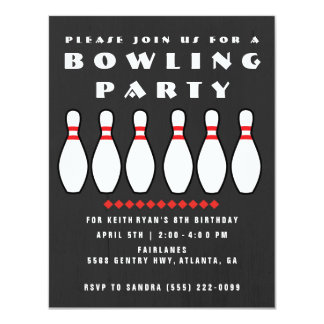 Bowling Party Gray Boys Birthday Party Invitation