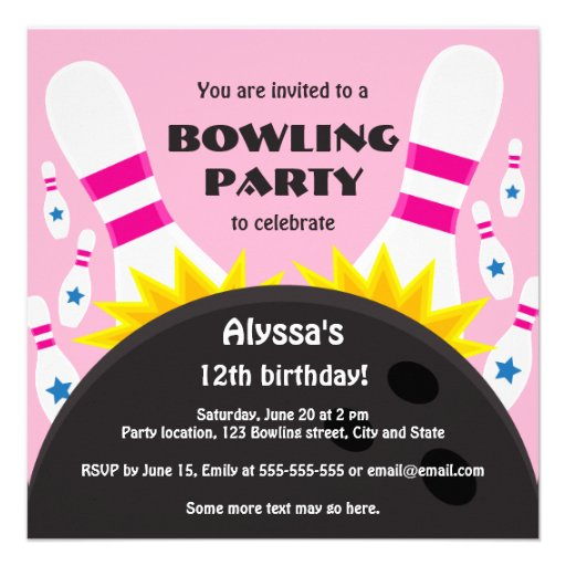 Bowling party invitation with bowling ball, pink