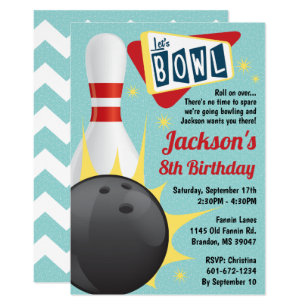 ff389455b Bowling Party Retro Tenpin Invitation