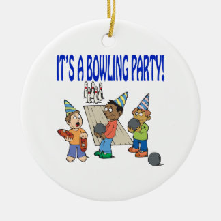 Bowling Party Round Ceramic Decoration