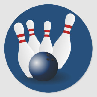Bowling Pins and Ball Classic Round Sticker