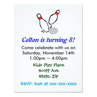 Bowling Pins Kids Birthday Party Invitation
