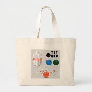 bowling pins large tote bag