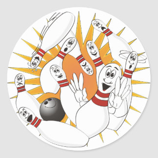 Bowling Pins Strike Cartoon Classic Round Sticker