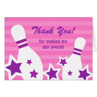 Bowling pins with stars girls Thank You note card
