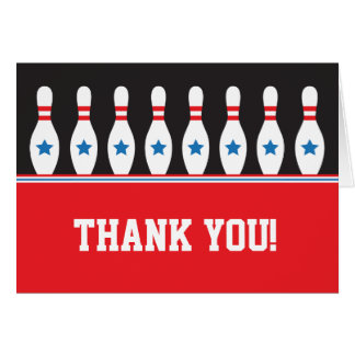 Bowling pins with stars Thank You note card