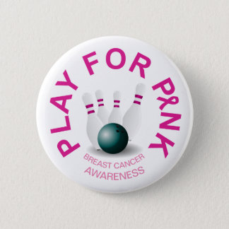 Bowling Play for Breast Cancer Awareness Button