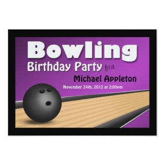 Bowling - Purple Birthday Party Invitations