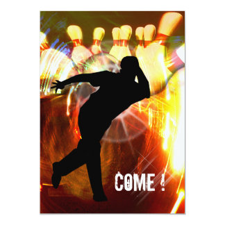 """Bowling with Strike Explosion Invite 5"""" X 7"""" Invitation Card"""