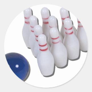 BowlingPinsBall030111 Classic Round Sticker