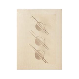 Bowls and Chopsticks Wood Poster