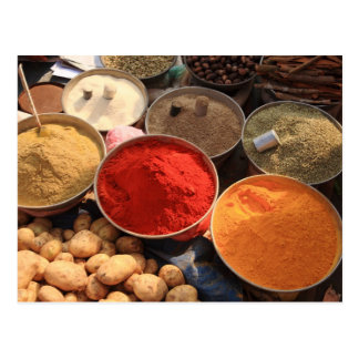Bowls of cooking spices in Indian market Postcard