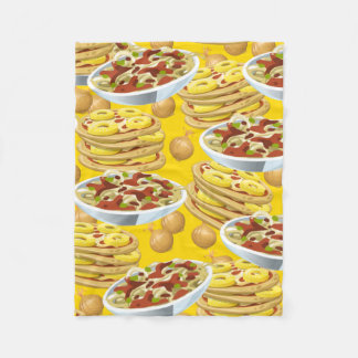 Bowls of Pasta and Pizza Fleece Blanket
