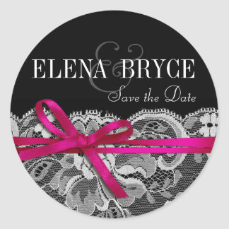 Bows Ribbon & Lace | black fuschia Classic Round Sticker