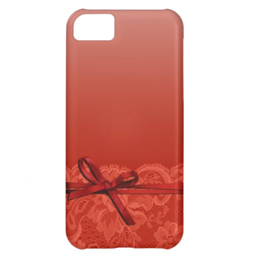 Bows Ribbon & Lace   coral iPhone 5C Cases