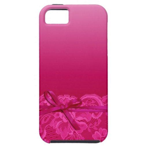 Bows Ribbon & Lace   fuschia iPhone 5 Case