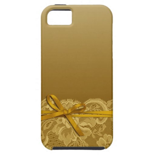 Bows Ribbon & Lace   gold iPhone 5 Cases