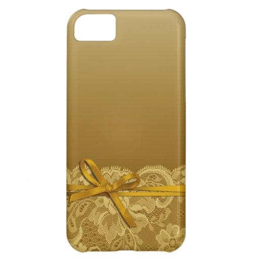 Bows Ribbon & Lace   gold iPhone 5C Case