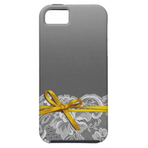Bows Ribbon & Lace   gray yellow iPhone 5 Case