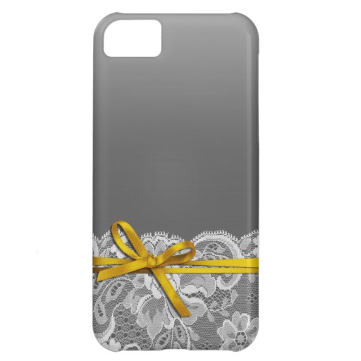 Bows Ribbon & Lace   gray yellow iPhone 5C Covers