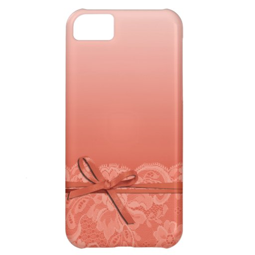 Bows Ribbon & Lace   peach Cover For iPhone 5C