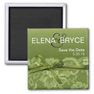 Bows Ribbon & Lace Save the Date grass Square Magnet
