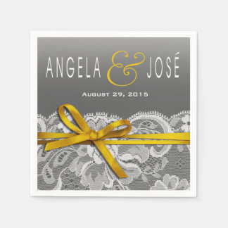 Bows Ribbon & Lace Wedding Party | gray yellow Disposable Serviettes