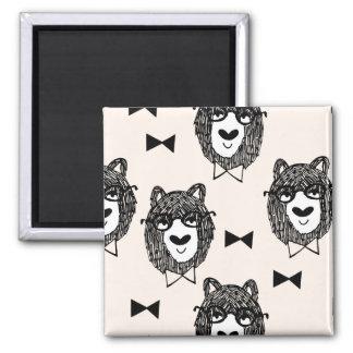 Bowtie Bear - Cream Black White / Andrea Lauren Square Magnet
