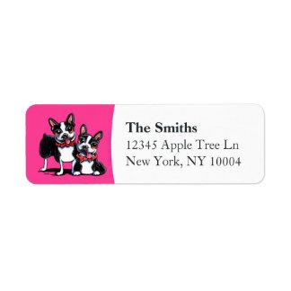 Bowtie Boston Terriers Hot Pink Return Address Label