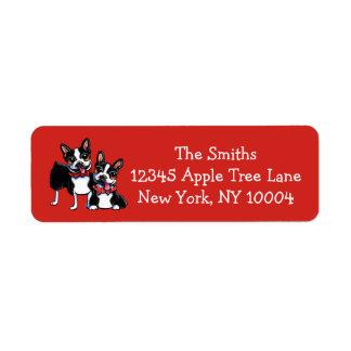Bowtie Boston Terriers Off-Leash Art™ Red Return Address Label