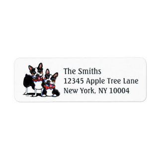 Bowtie Boston Terriers Off-Leash Art™ Return Address Label